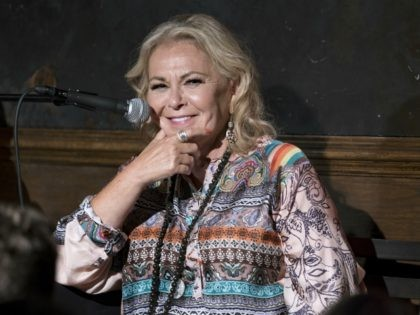 Roseanne Barr takes part in a special event and podcast taping at Stand Up NY, Thursday, July 26, 2018, in New York. (AP Photo/Craig Ruttle)