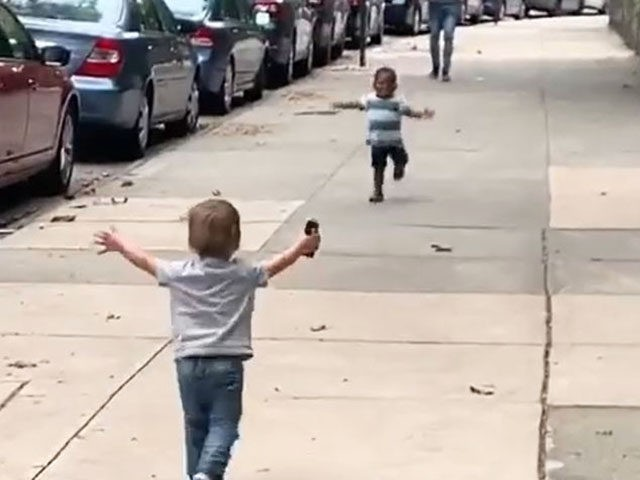 Toddlers Run Towards Each Other, Hug on NYC Street