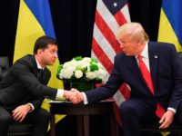US President Donald Trump and Ukrainian President Volodymyr Zelensky shake hands during a meeting in New York on September 25, 2019, on the sidelines of the United Nations General Assembly. (Photo by SAUL LOEB / AFP) (Photo credit should read SAUL LOEB/AFP/Getty Images)