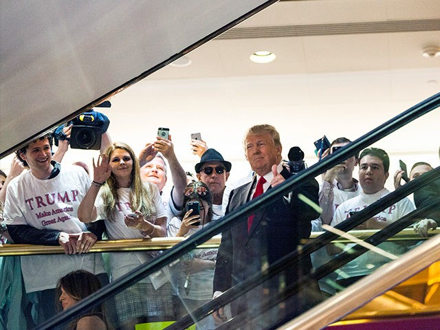 NEW YORK, NY - JUNE 16: Business mogul Donald Trump rides an escalator to a press event to announce his candidacy for the U.S. presidency at Trump Tower on June 16, 2015 in New York City. Trump is the 12th Republican who has announced running for the White House. (Photo …
