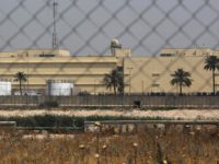 The US embassy compound is pictured in Baghdad's Green Zone on May 20, 2019 in the Iraqi capital. - A Katyusha rocket crashed the previous day into Baghdad's Green Zone which houses government offices and embassies including the US mission, Iraqi security services said in a statement. The rocket -- …