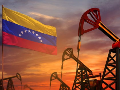 Venezuela oil industry concept. Industrial illustration - Venezuela flag and oil wells with the red and blue sunset or sunrise sky background - 3D illustration - stock photo