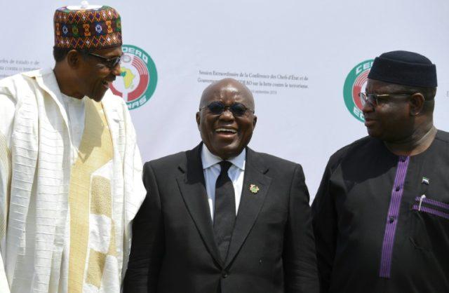 Presidents Muhammadu Buhari of Nigeria (L), Nana Akufo-Addo of Ghana (C) and Julius Maada Bio of Sierra Leone were among the leaders meeting in Ouagadougou