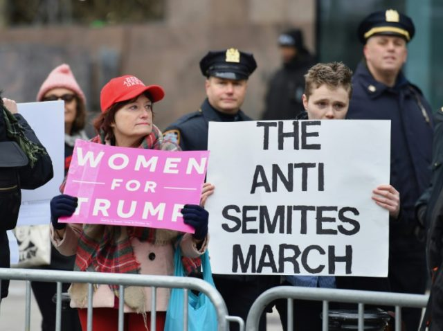 Several of the founding members for the Women's March (counter-protesters pictured January 2019 in New York City) have been accused of anti-Semitism, creating divisions within the organization