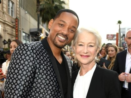 """LOS ANGELES, CALIFORNIA - MAY 21: Will Smith and Helen Mirren attends the premiere of Disney's """"Aladdin"""" at El Capitan Theatre on May 21, 2019 in Los Angeles, California. (Photo by Kevin Winter/Getty Images)"""