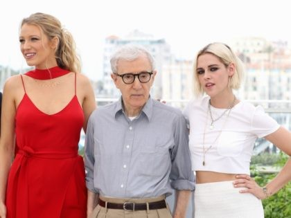 "CANNES, FRANCE - MAY 11: (L-R) Blake Lively, director Woody Allen and Kristen Stewart attend the ""Cafe Society"" Photocall during The 69th Annual Cannes Film Festival on May 11, 2016 in Cannes, France. (Photo by Andreas Rentz/Getty Images)"