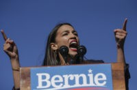 NEW YORK, NY - OCTOBER 19: Rep. Alexandria Ocasio-Cortez (D-NY) endorses Democratic presidential candidate, Sen. Bernie Sanders (I-VT) at a campaign rally in Queensbridge Park on October 19, 2019 in the Queens borough of New York City. This is Sanders' first rally since he paused his campaign for the nomination …
