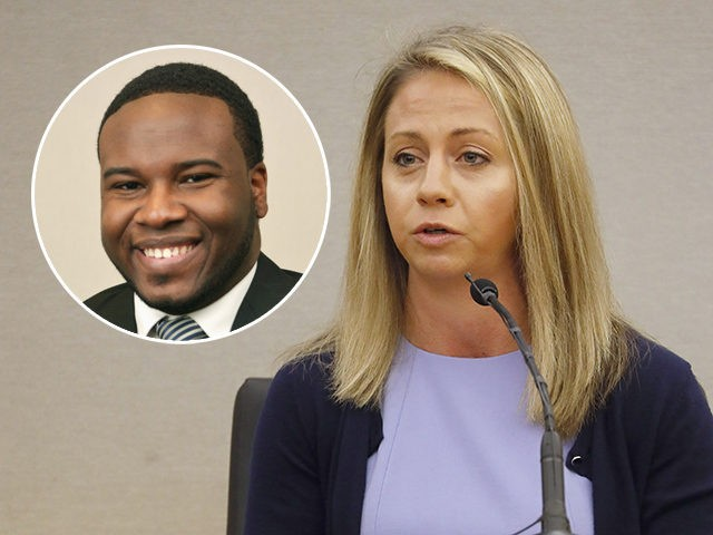 Fired Dallas Police Officer Amber Guyger faces the jury and answers questions from her counsel in her own murder defense in the 204th District Court at the Frank Crowley Courts Building in Dallas, Friday, Sept. 27, 2019. Guyger shot and killed Botham Jean, an unarmed 26-year-old neighbor in his own …