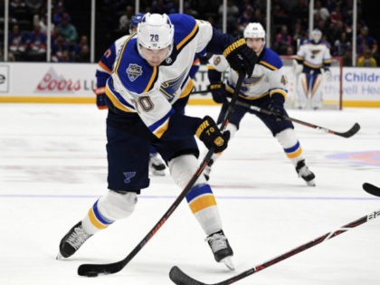 St. Louis Blues center Oskar Sundqvist controls the puck against the New York Islanders during the first period of an NHL hockey game, Monday, Oct. 14, 2019, in Uniondale, N.Y. (AP Photo/Kathleen Malone-Van Dyke)