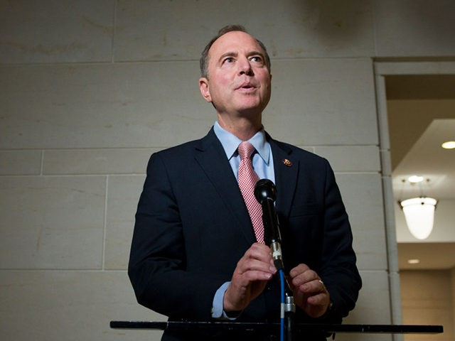 WASHINGTON, DC - OCTOBER 11: U.S. Rep. Adam Schiff (D-CA), House Intelligence Chairman makes a statement to reporters at the U.S. Capitol on October 11, 2019. The House Intelligence, House Foreign Affairs and House Oversight and Reform Committee heard a closed door deposition from the former U.S. Ambassador to Ukraine …