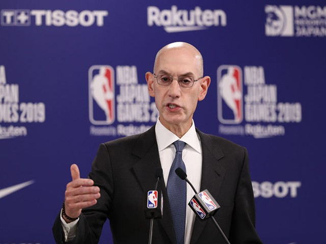 SAITAMA, JAPAN - OCTOBER 08: Commissioner of the National Basketball Association (NBA) Adam Silver speaks during a press conference prior to the preseason game between Houston Rockets and Toronto Raptors at Saitama Super Arena on October 08, 2019 in Saitama, Japan. NOTE TO USER: User expressly acknowledges and agrees that, by downloading and/or using this photograph, user is consenting to the terms and conditions of the Getty Images License Agreement.