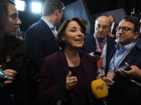Democratic presidential hopeful Minnesota Senator Amy Klobuchar speaks to the press in the spin room after the fourth Democratic primary debate of the 2020 presidential campaign season co-hosted by The New York Times and CNN at Otterbein University in Westerville, Ohio on October 15, 2019. (Photo by SAUL LOEB / …