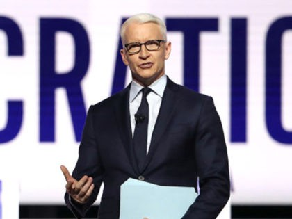 WESTERVILLE, OHIO - OCTOBER 15: CNN anchor Anderson Cooper speaks before the Democratic Presidential Debate at Otterbein University on October 15, 2019 in Westerville, Ohio. A record 12 presidential hopefuls are participating in the debate hosted by CNN and The New York Times. (Photo by Win McNamee/Getty Images)