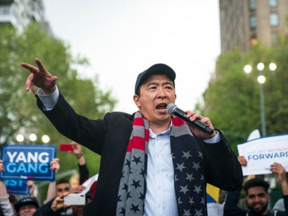 NEW YORK, NY - MAY 14: Democratic presidential candidate Andrew Yang speaks during a rally in Washington Square Park, May 14, 2019 in New York City. One of Yangs major campaign promises is a universal basic income of $1,000 every month for every American 18 years and older. (Photo by …
