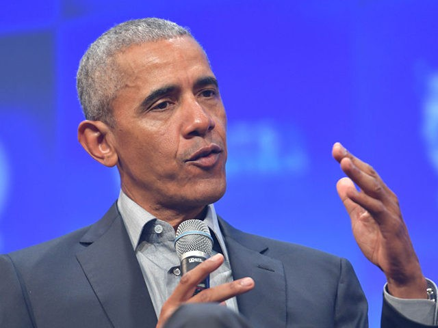 "MUNICH, GERMANY - SEPTEMBER 29: Former U.S. President Barack Obama speaks at the opening of the Bits & Pretzels meetup on September 29, 2019 in Munich, Germany. The annual event brings together founders and startups from across the globe for three days of networking, talks and inspiration. during the ""Bits …"