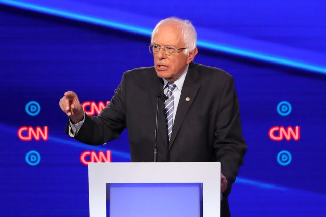 WESTERVILLE, OHIO - OCTOBER 15: Sen. Bernie Sanders (I-VT) speaks during the Democratic Presidential Debate at Otterbein University on October 15, 2019 in Westerville, Ohio. A record 12 presidential hopefuls are participating in the debate hosted by CNN and The New York Times. (Photo by Win McNamee/Getty Images)