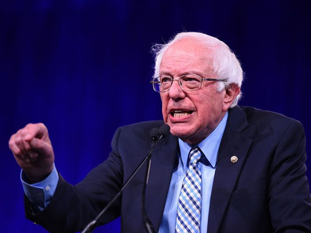 2020 US Democratic Presidential hopeful US Senator for Vermont Bernie Sanders speaks on-stage during the Democratic National Committee's summer meeting in San Francisco, California on August 23, 2019. (Photo by JOSH EDELSON / AFP) (Photo credit should read JOSH EDELSON/AFP/Getty Images)