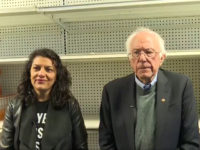 Socialist Bernie Sanders Campaigns in Front of Empty Pantry Shelves