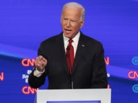 Democratic presidential candidate former Vice President Joe Biden speaks in a Democratic presidential primary debate hosted by CNN and The New York Times at Otterbein University, Tuesday, Oct. 15, 2019, in Westerville, Ohio. (AP Photo/John Minchillo)