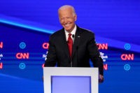 WESTERVILLE, OHIO - OCTOBER 15: Former Vice President Joe Biden smiles during the Democratic Presidential Debate at Otterbein University on October 15, 2019 in Westerville, Ohio. A record 12 presidential hopefuls are participating in the debate hosted by CNN and The New York Times. (Photo by Win McNamee/Getty Images)