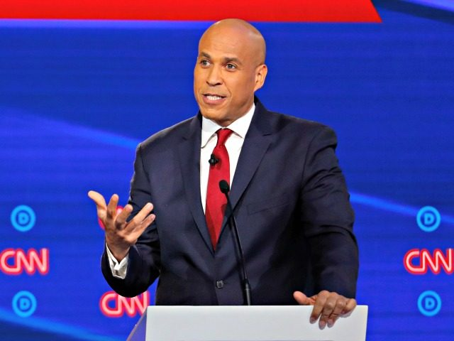 Democratic presidential candidate Sen. Cory Booker, D-N.J., speaks during a Democratic presidential primary debate hosted by CNN/New York Times at Otterbein University, Tuesday, Oct. 15, 2019, in Westerville, Ohio. (AP Photo/John Minchillo)