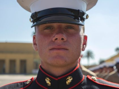Pfc. Brendan M. Bialy, the 18-year-old guide of Platoon 2147, Golf Company, 2nd Recruit Training Battalion. Bial helped tackle and disarm a gunman during a shooting at his high school in Highlands Ranch, Colo., earlier this year. GRACE J. KINDRED/U.S. MARINE CORPS