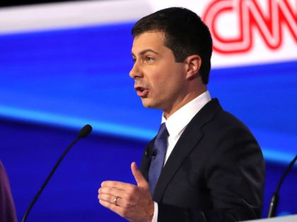 WESTERVILLE, OHIO - OCTOBER 15: Sen. Elizabeth Warren (D-MA) looks on as South Bend, Indiana Mayor Pete Buttigieg speaks during the Democratic Presidential Debate at Otterbein University on October 15, 2019 in Westerville, Ohio. A record 12 presidential hopefuls are participating in the debate hosted by CNN and The New …