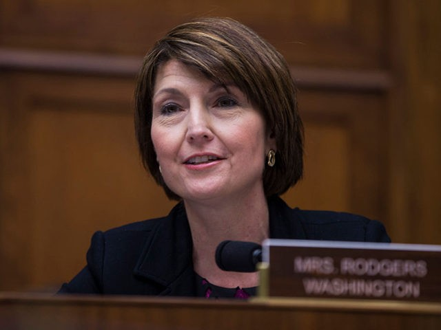 WASHINGTON, DC - APRIL 02: Rep. Cathy McMorris Rodgers (R-WA) questions Gov. Jay Inslee (D-WA) during a House Energy and Commerce Environment and Climate Change Subcommittee hearing on Capitol Hill on April 2, 2019 in Washington, DC. Inslee, who is a candidate for president in 2020, has said that he …