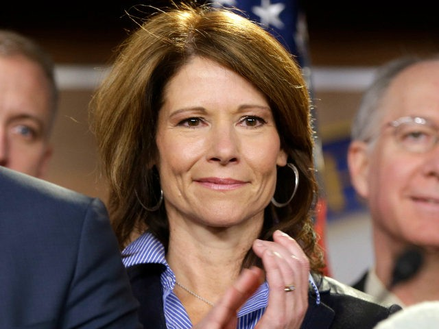 Rep.-elect Cheri Bustos D-Ill. is seen on stage during a news conference with newly elected Democratic House members, on Capitol Hill in Washington, Tuesday, Nov. 13, 2012. (AP Photo/Pablo Martinez Monsivais)
