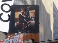 A billboard in New York City's Time Square depicts President Donald Trump being hogtied by a woman clad in athletic wear on Friday, Oct. 18, 2019. The The 30-foot-high billboard is part of an advertising campaign by Dhvani, a Portland-based clothing company. CEO of Dhvani Avi Brown told The Associated …