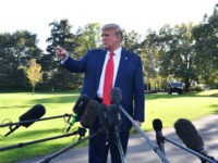 US President Donald Trump gestures as he speaks to the media prior to departing from the South Lawn of the White House in Washington, DC on October 10, 2019 on his way to Minnesota for a rally. (Photo by Nicholas Kamm / AFP) (Photo by NICHOLAS KAMM/AFP via Getty Images)