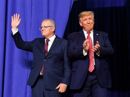 US President Donald Trump and Australian Prime Minister Scott Morrison arrive to speak during a visit to Pratt Industries plant opening in Wapakoneta, Ohio on September 22, 2019. (Photo by SAUL LOEB / AFP) (Photo credit should read SAUL LOEB/AFP/Getty Images)