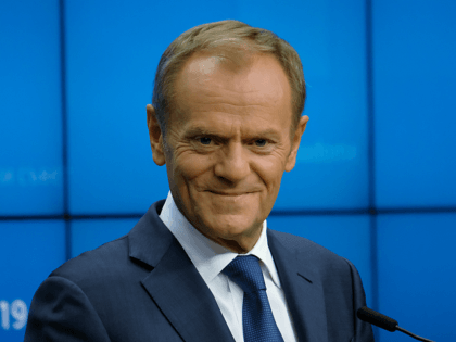 BRUSSELS, BELGIUM - OCTOBER 18: European Council President Donald Tusk speaks to the media at the conclusion of a two-day summit of European Union leaders on October 18, 2019 in Brussels, Belgium. The day before EU and UK negotiators announced an agreement on the United Kingdom's departure from the European …