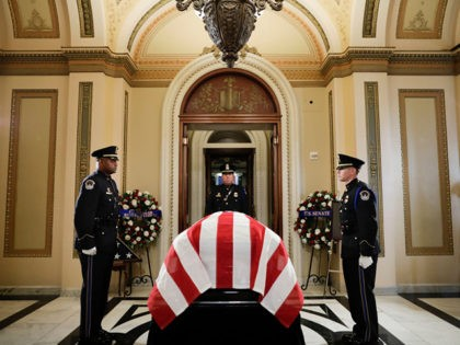 "WASHINGTON, DC - OCTOBER 24: The flag-draped casket of Rep. Elijah Cummings (D-MD) is placed outside the House Chamber at the U.S. Capitol October 24, 2019 in Washington, DC. Rep. Cummings passed away on October 17, 2019 at the age of 68 from ""complications concerning longstanding health challenges."" He is …"