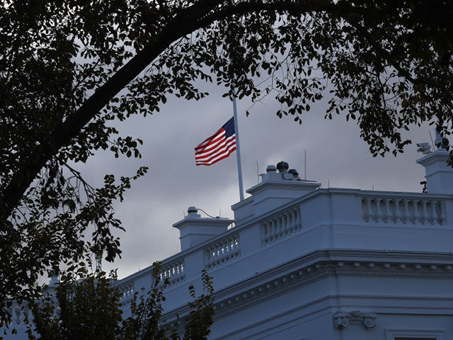 WASHINGTON, DC - OCTOBER 17: The American flag over the White House has been lowered following the death of Rep. Elijah Cummings, chairman of the House Oversight Committee, on October 17, 2019 in Washington, DC. Cummings, age 68, died early this morning. (Photo by Win McNamee/Getty Images)