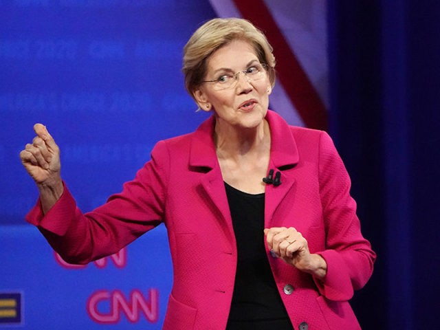 LOS ANGELES, CALIFORNIA - OCTOBER 10: Democratic presidential candidate, Sen. Elizabeth Warren (D-MA) speaks at the Human Rights Campaign Foundation and CNN presidential town hall focused on LGBTQ issues on October 10, 2019 in Los Angeles, California. It is the first Presidential event broadcast on a major news network focused …