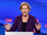 WESTERVILLE, OHIO - OCTOBER 15: Sen. Elizabeth Warren (D-MA) answers questions during the Democratic Presidential Debate at Otterbein University on October 15, 2019 in Westerville, Ohio. A record 12 presidential hopefuls are participating in the debate hosted by CNN and The New York Times. (Photo by Win McNamee/Getty Images)