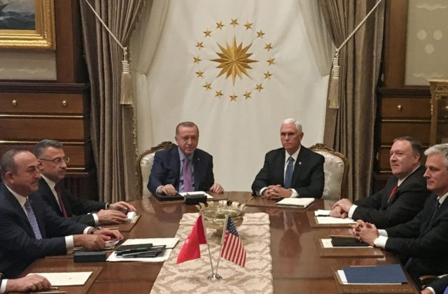 Turkish President Recep Tayyip Erdogan (C-L) and US Vice President Mike Pence (C-R), joined by Secretary of State Mike Pompeo (4R), Turkish Vice President Fuat Oktay (4L), Turkish Foreign Minister Mevlut Cavusoglu (3L) and senior aides, meet at the presidential complex in Ankara, Turkey, on October 17, 2019. - Pence …