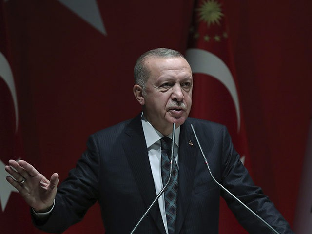 "Turkey's President Recep Tayyip Erdogan speaks to his ruling party officials, in Ankara, Turkey, Thursday, Oct. 10, 2019. Erdogan says that there have been 109 ""terrorists killed"" — a reference to Syrian Kurdish fighters — since Ankara launched an offensive into Syria the previous day. Erdogan also warned the European …"