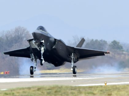 CHUNGJU, SOUTH KOREA - MARCH 29: In this photo provided by South Korea Defense Acquisition Program Administration, a U.S. F-35A fighter jet lands at Chungju Air Base on March 29, 2019 in Chungju, South Korea. Two F35-A fighter jets have been received by South Korea after the United States approved …