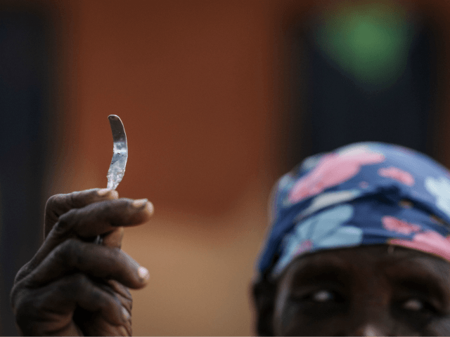 Ex-female genital mutilation (FGM) cutter Monika Cheptilak, who stopped practicing after the country set anti-FGM law in 2010, shows a homemade tool from a nail used for FGM, during the meeting of anti-FGM women group in Alakas village, bordering with Kenya, northeast Uganda on January 31, 2018. The UN estimates …