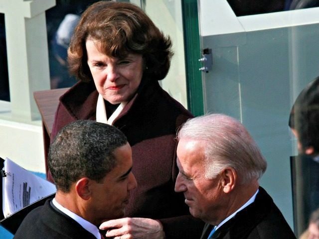 WASHINGTON - JANUARY 20: Vice President-elect Joseph R. Biden shakes hand with President Barack Obama as Diane Feinstein looks on from the West Front of the Capitol January 20, 2009 in Washington, DC. Obama becomes the first African-American to be elected to the office of President in the history of …