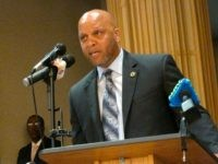 Democratic Atlantic City Mayor Frank Gilliam Jr. speaks at an event in Atlantic City N.J. on Tuesday April 23, 2019, at which state officials said New Jersey's takeover of Atlantic City will remain in place for the full five-year term envisioned by former Republican Gov. Chris Christie when it began …