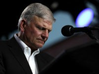 "Rev. Franklin Graham speaks during Franklin Graham's ""Decision America"" California tour at the Stanislaus County Fairgrounds on May 29, 2018 in Turlock, California. Rev. Franklin Graham is touring California for the weeks leading up to the California primary election on June 5th with a message for evangelicals to vote. (Photo …"