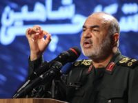 Iranian Revolutionary Guards commander Major General Hossein Salami speaks at Tehran's Islamic Revolution and Holy Defence museum, during the unveiling of an exhibition of what Iran says are US and other drones captured in its territory, in the capital Tehran on September 21, 2019. - Iran's Revolutionary Guards commander today …