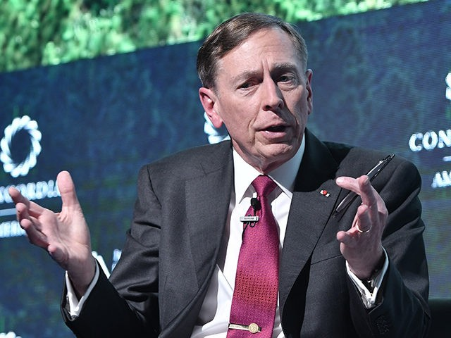 BOGOTA, COLOMBIA - JULY 17: Gen. (Ret.) David H Petraeus (L), Chairman of KKR Global Institute speaks during a conversation with Gustau Alegret (out the frame), Director US News, NTN24 as part of the 2018 Concordia Americas Summit day 2 at Agora Bogota Convention Center on July 17, 2018 in …