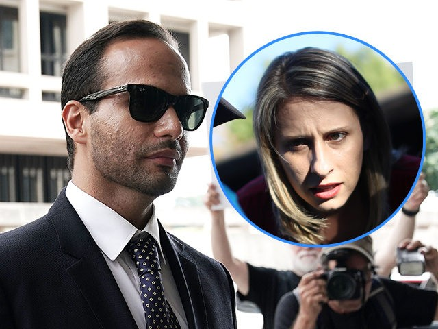"""(INSET: Former Rep. Katie Hill, D-CA) WASHINGTON, DC - SEPTEMBER 07: A protester holds up a sign as former Trump Campaign aide George Papadopoulos arrives at the U.S. District Court for his sentencing hearing September 7, 2018 in Washington, DC. Papadopoulos has pleaded guilty last year for making a """"materially …"""