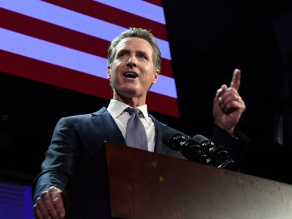 LOS ANGELES, CA - NOVEMBER 06: Democratic gubernatorial candidate Gavin Newsom speaks during election night event on November 6, 2018 in Los Angeles, California. Newsom defeated Republican Gubernatorial candidate John Cox. (Photo by Kevork Djansezian/Getty Images)