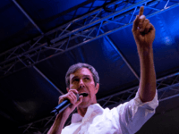 "Former Texas Congressman Beto O'Rourke speaks to a crowd of supporters at Chalio Acosta Sports Center at the end of the anti-Trump ""March for Truth"" in El Paso, Texas, on February 11, 2019. - The march took place at the same time as US President Donald Trump pushed his politically …"