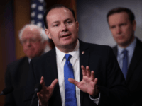 "Sen. Mike Lee (R-UT) speaks during a press conference at the U.S. Capitol January 30, 2019 in Washington, DC. Sen. Bernie Sanders (L) (I-VT) and other members of the U.S. Senate and House of Representatives called for the reintroduction of a resolution ""to end U.S. support for the Saudi-led war …"